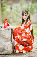 Free shipping Japanese Traditional Cotton clothing Kawaii Japan Yukata Kimono Women Flowers Kimono Dress A9014