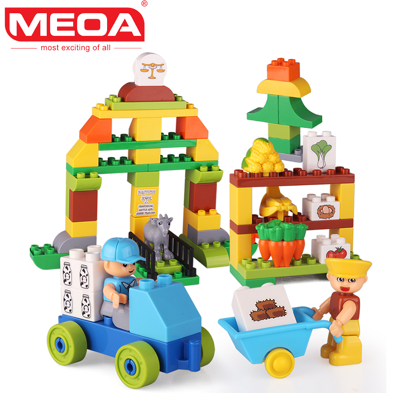 MEOA 69pcs Ranch Big Building blocks With Duplo Figures Bricks Heads Kids DIY Educational Toys For Childrens As Gift