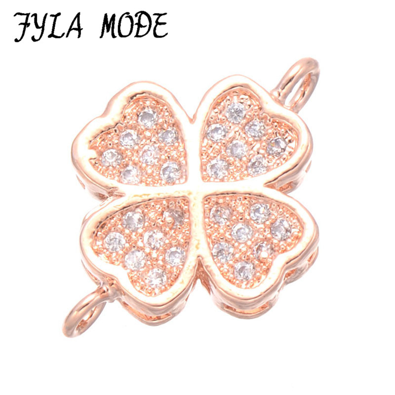 Hot Fashion Copper Flower Charms Connector Micro Pave Clover AAA Zircon Connector Component For DIY Bracelet Making CHF537