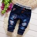 2017 осень Мальчиков Джинсовые брюки, Детские Письма Мода Джинсы брюки, V1885