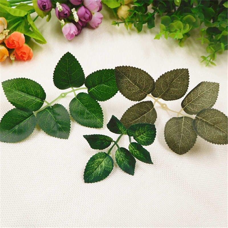 10 PCS/artificial silk rose green leaf wedding decoration DIY wreaths flower rattan ornament simulation leaf shape