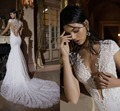 Vestido de noiva Cap Mangas Appliqued Cordón Blanco Romántico Ver aunque de Nuevo Vestido De Novia Berta 2017 Largo Tribunal Tren vestidos de Novia vestido