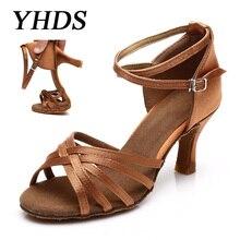 цены на YHDS New Latin Dance Shoes For Women Girls Tango Salsa Ballroom Dance High Heels soft Dancing Shoes 5/7cm Ballroom Dance shoes  в интернет-магазинах