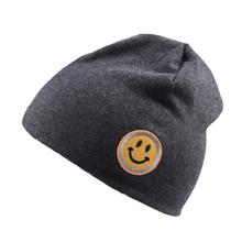 2019 Cute Solid Color Knitted Cotton Caps For Kids Emoji Print Hat Skullies Girls Boys Spring Autumn Outdoor Warm Cap Beanies