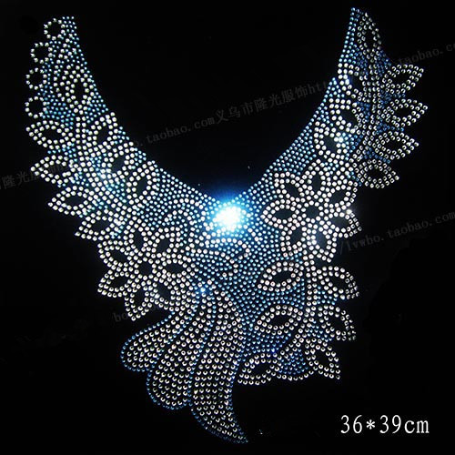 2pc/loNeckline design hotfix stone motif rhinestones motif transfer on design rhinestones fix patches for sweater