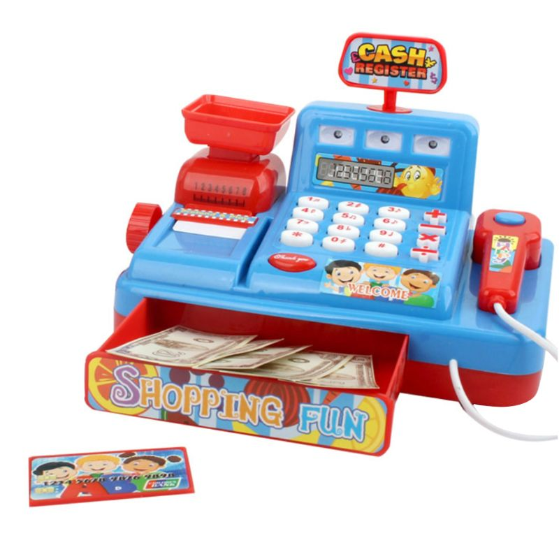 1Set Electric Cash Register Kids Toy Simulated Play Money Vending Machine Play House Pretend Toys Chrismas Gifts