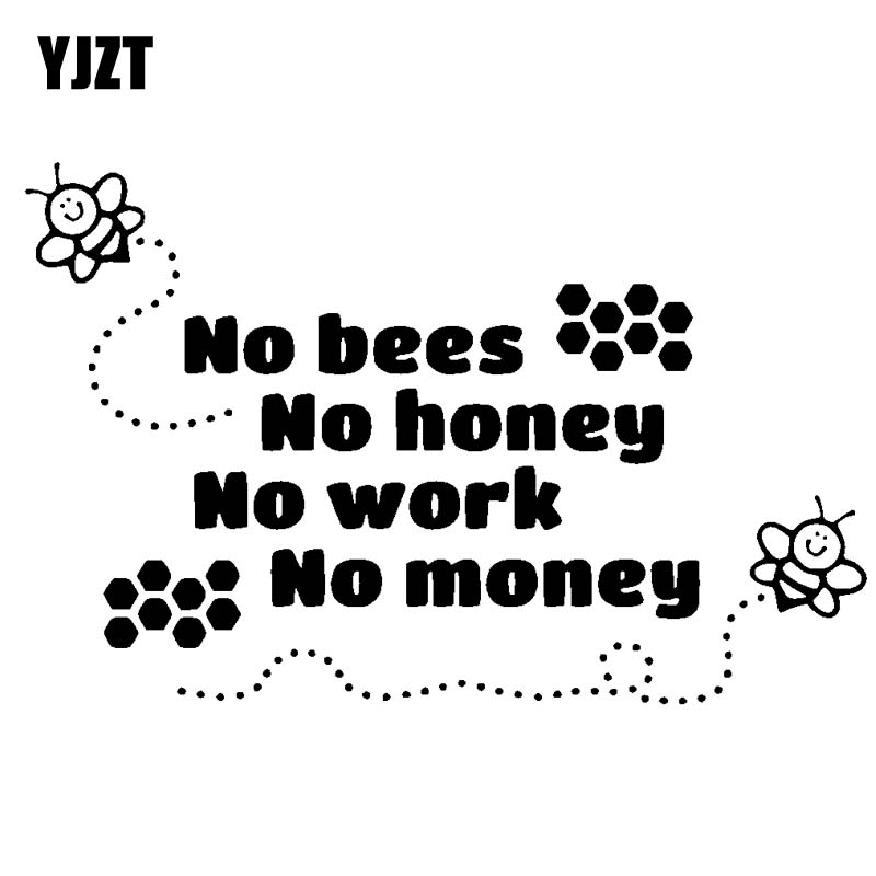 YJZT 18.2CM*11.6CM Beekeeper Bees Honey Beekeeping Car Sticker No Bees No Honey Cute Vinyl Decal Black/Silver C19-0075