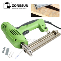 ZONESUN 2 In 1 Framing Tacker Electric Nails Staple Gun 220V Power Tools Stapler Gun 45needles/min for Woodworking Furniture