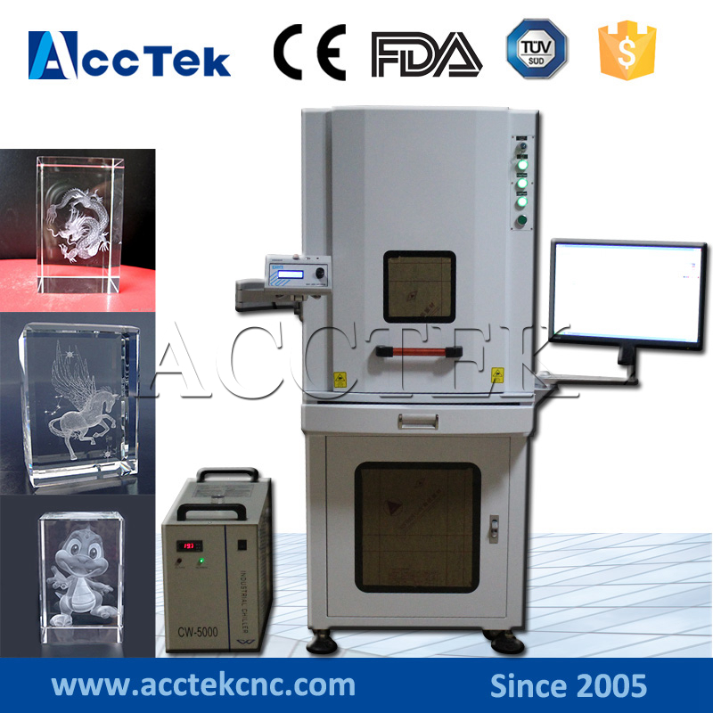 3D laser! AccTek 3W 5W 8W 10W UV crystal glass 3d laser engraving machine