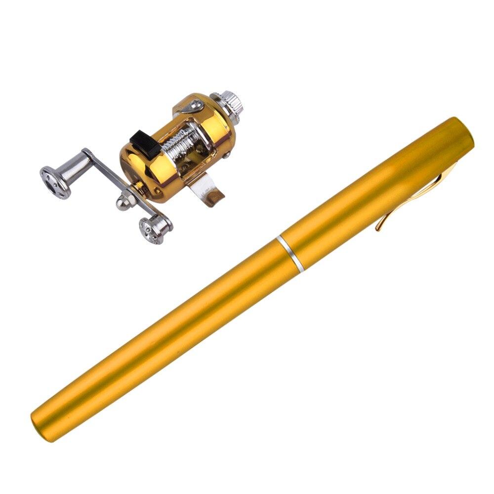 Portátil de bolsillo telescópica Mini pluma caña de pescar de aleación de aluminio de pesca polo con carrete de envío de la gota