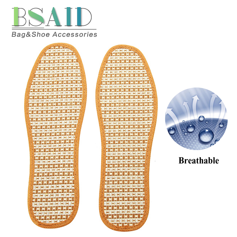 BSAID Men Women Breathable Insoles Breathable Hand-Woven Bamboo Charcoal Linen Shoes Insoles Summer Unisex Inserts Foot Pads