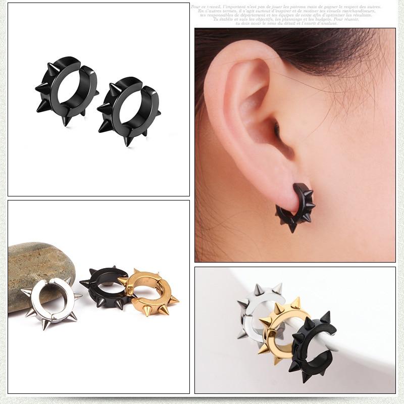 Men and Women vintage punk spike stainless steel stud earring no ear hole earring gifts cool earrings