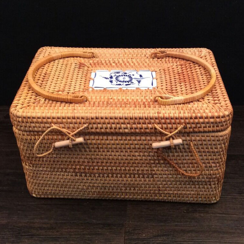Home Storage Organization organizer Travel rattan Storage Boxes Bins for clothes Jewelry Food Tableware Sundries organiser in Storage Boxes Bins from Home Garden