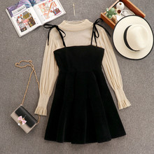 2020 Spring Elegant Women Transparent Lantern Long Sleeves Tops+ Dress Set 2pcs Suit Party Birthday Gift A485