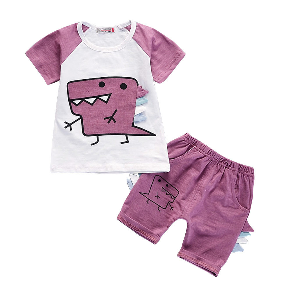 0 4year Summer Kids Clothes Newborn Baby Boy Set Cotton Cute Bebe Dinosaur T shirt Dragon Ridge Pant Set Babyboy Clothes Suit in Clothing Sets from Mother Kids