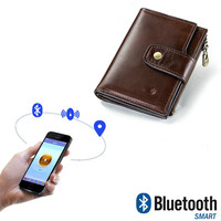 YICHENG Men's Wallet Upscale Business RFID Genuine Leather Bluetooth Smart Short Hasp Prevent from losing money bag small purse