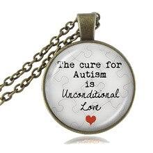 Autism Pendant Necklace The Cure for Autism is Unconditional Love Puzzle Piece Charm Autism Quote Jewelry Glass Cabochon HZ1