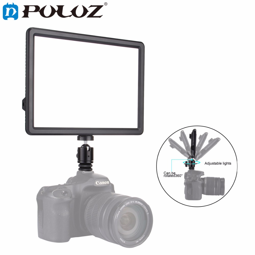 PULUZ Mini LED Video Light Photo Lighting on Camera Hot shoe Mount Dimmable LED Lamp for Canon Nikon Sony Camcorder DV DSLR godox led 308y 308 leds professional led video 3300k light with remote control for canon nikon camera dv camcorder