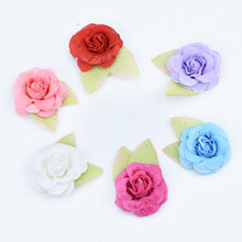 6pcs/lot Cheap Silk roses green leaf decorative flowers diy pompom gifts box christmas decor for home wedding artificial flowers(China)