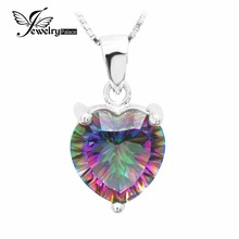JewelryPalace 4ct Real Rainbow Hearth Mystic Topaz Pendant Strong 925 Sterling Silver Classic Jewellery Coronary heart Pendant Model New