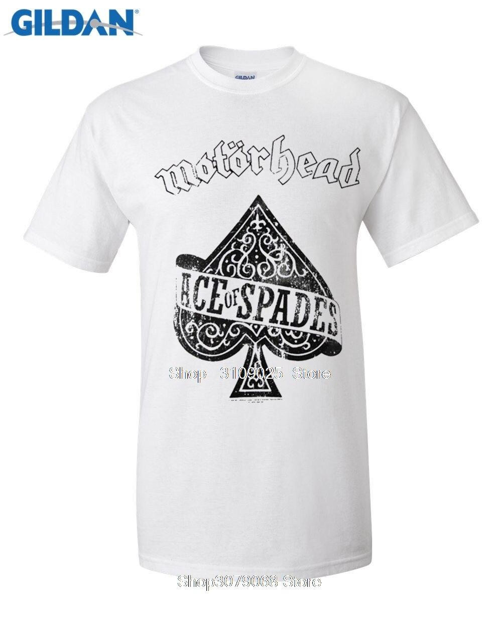 GILDAN customised t-shirts New Fashion Cool Motorhead T-shirts Men Ace Of Spades T Shirts Crew Neck Rock T Shirts ...