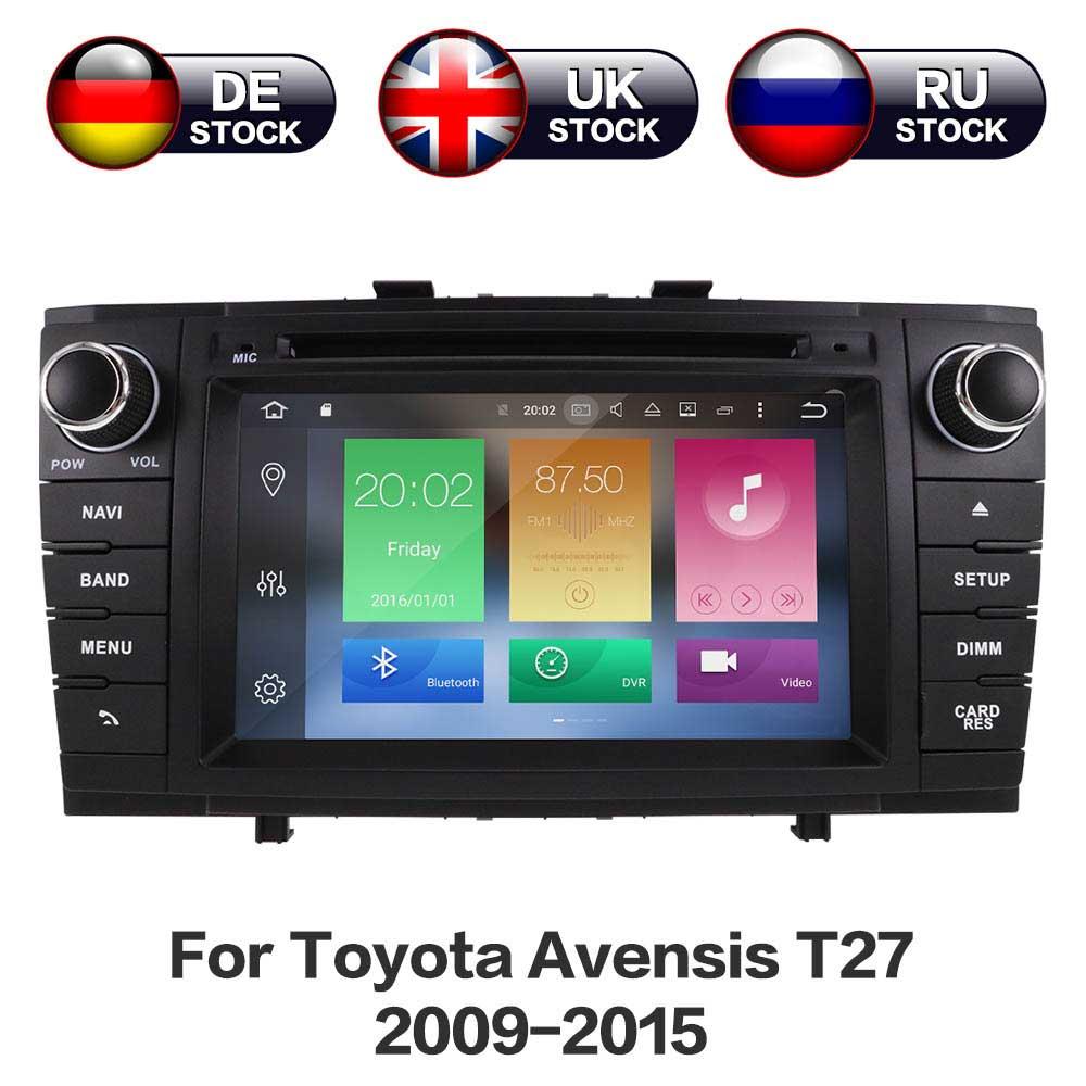 Android 8,0 4 ГБ + 32 ГБ HD Экран с Bluetooth, Wi-Fi USB Автомобильное gps DVD плеер для черный Toyota avensis T27 2009-2015