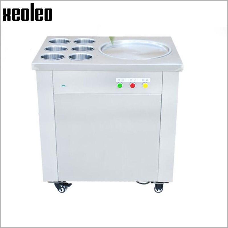 Xeoleo Stainless steel Fryed ice machine Roll ice Fry machine Thailand Roll ice maker Fry Ice cream/Yogurt machine 35cm Pot R22