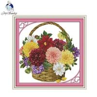 Joy Sunday Colorful Chrysanthemum Flower Basket Counted DMC Cross Stitch DIY Cross Stitch Kits For Embroidery