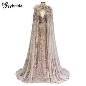 Vestidos formales de sirena con lentejuelas, vestido de noche con escote en V y cuentas largas para mujer, vestidos de graduación con plumas de avestruz, vestidos de fiesta con cristales