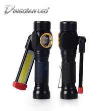 Foldable Working Light LED Outdoor Flashlight White+Red Light USB Rechargeable Worklight 18650 Battery Camping Torch Flashlight ultrafire 3408 led 500lm 3 mode white red flashlight camping light grey 2 x 18650