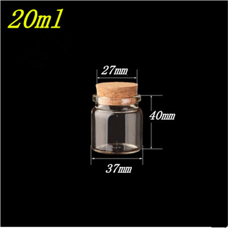 20ml Cute Glass Vials Glass Bottles with Corks Small Glass Jars Gift Bottles 50pcs Factory Wholesales