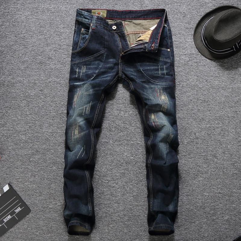 Итальянский Стиль модные Для мужчин джинсы Slim Fit темно-голубой цвет уничтожены Рваные джинсы Homme Balplein брендовые джинсы Для мужчин двигателя ...