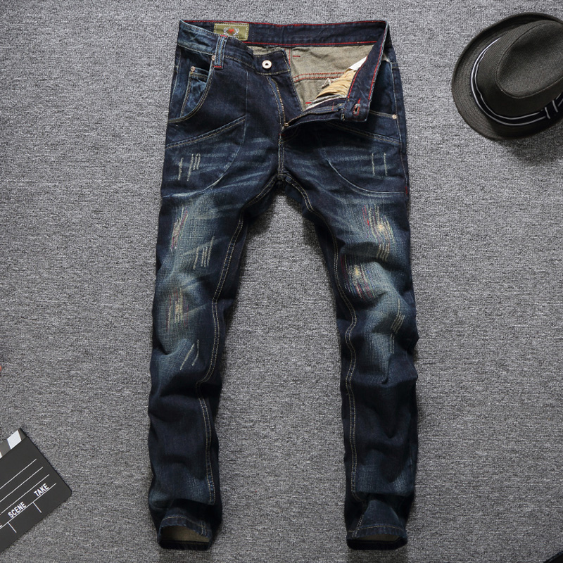Italian Style Fashion Men Jeans Slim Fit Dark Blue Color Destroyed Ripped Jeans Homme Balplein Brand Jeans Men Motor Biker Jeans