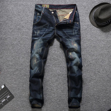 Italian Style Fashion Men Jeans Slim Fit Dark Blue Color Destroyed Ripped Jeans Homme Balplein Brand Jeans Men Motor Biker Jeans купить недорого в Москве