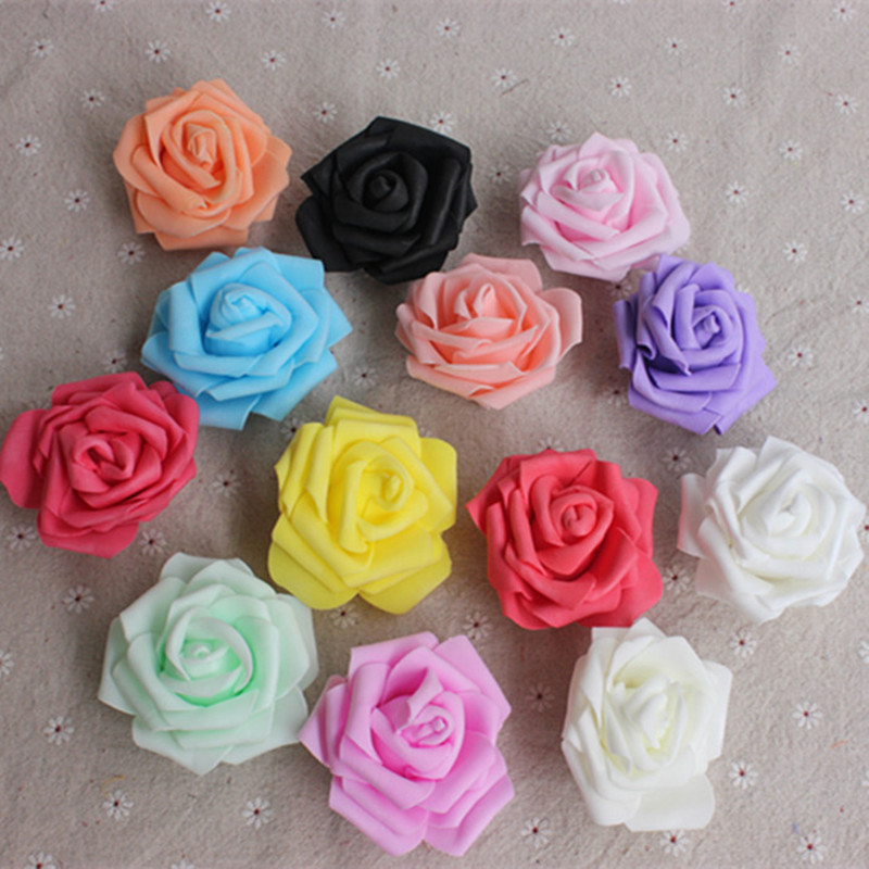 50 PCS GF52 simulation rose in the first five layer PE foam the indispensable materials of red rose flower diameter of 6.5 cm