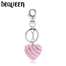 Pink Crystal Pink Heart Keyring Charm Pendant Purse Bag Key Ring Chain Keychain Gift