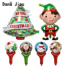 2019 merry christmas decoration balloon happy new year kids gift party DIY tree ballon boy Santa Claus snowman hand stick ball(China)