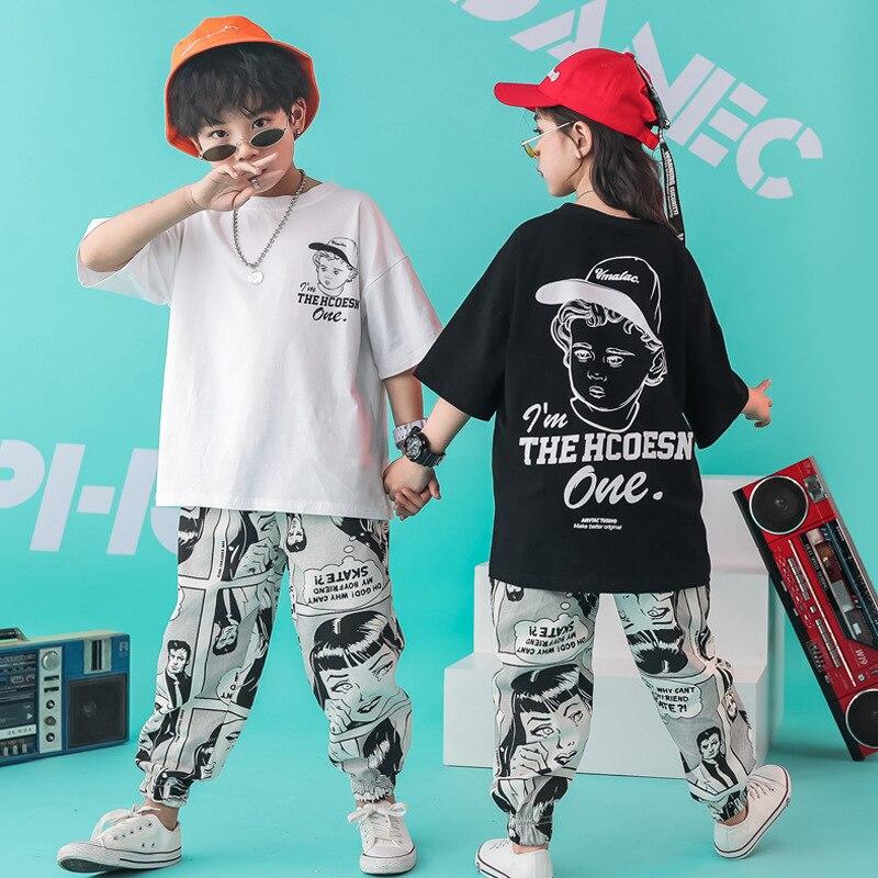 Kid Cool Hip Hop Clothing Oversized Running T Shirt Tops Cartoon Casual Pants For Girls Boys Dance Costume Wear Ballroom Clothes