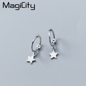 a3f7eb355 MAGICITY Exquisited 925 Sterling Silver Star Hoop Earrings for Women Simple  Ear Piercing Huggie Earrings Bohemia Bijoux Brincos