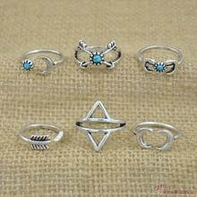 6PCS Vintage Turkish Beach Punk Moon Arrow Ring Set Carved Antique Silver Boho Turquoise Midi Finger Ring Knuckle Women Rings