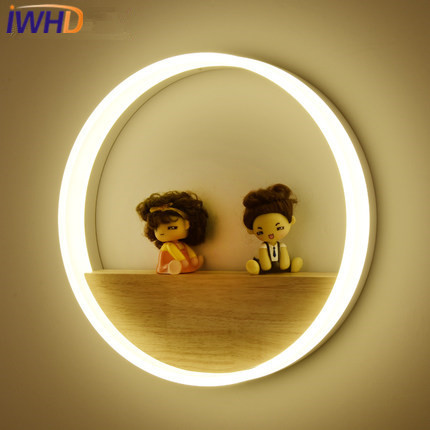 IWHD Wood LED Wall Sconce Lamp Modern Fashion Iron Wall Light Fixtures On The Wall Home Lighting Strials Circle  Wall Lamps modern led bathroom light stainless steel led mirror lamp dresser cabinet waterproof sconce indoor home wall lighting fixtures