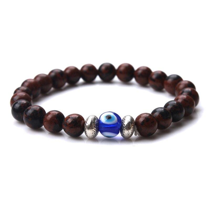 Handmade Natural Stone Bead Bracelet Men Elastic Blue Evil Eye Volcanics Charm Strand Bracelets for Women Jewelry Gifts