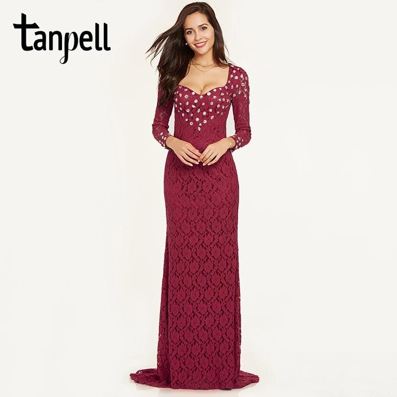 Tanpell мережива русалка вечірнє плаття бордовий бісером повні рукави довжина підлоги сукні жінки пром розгортки поїзд офіційні вечірні сукні  t