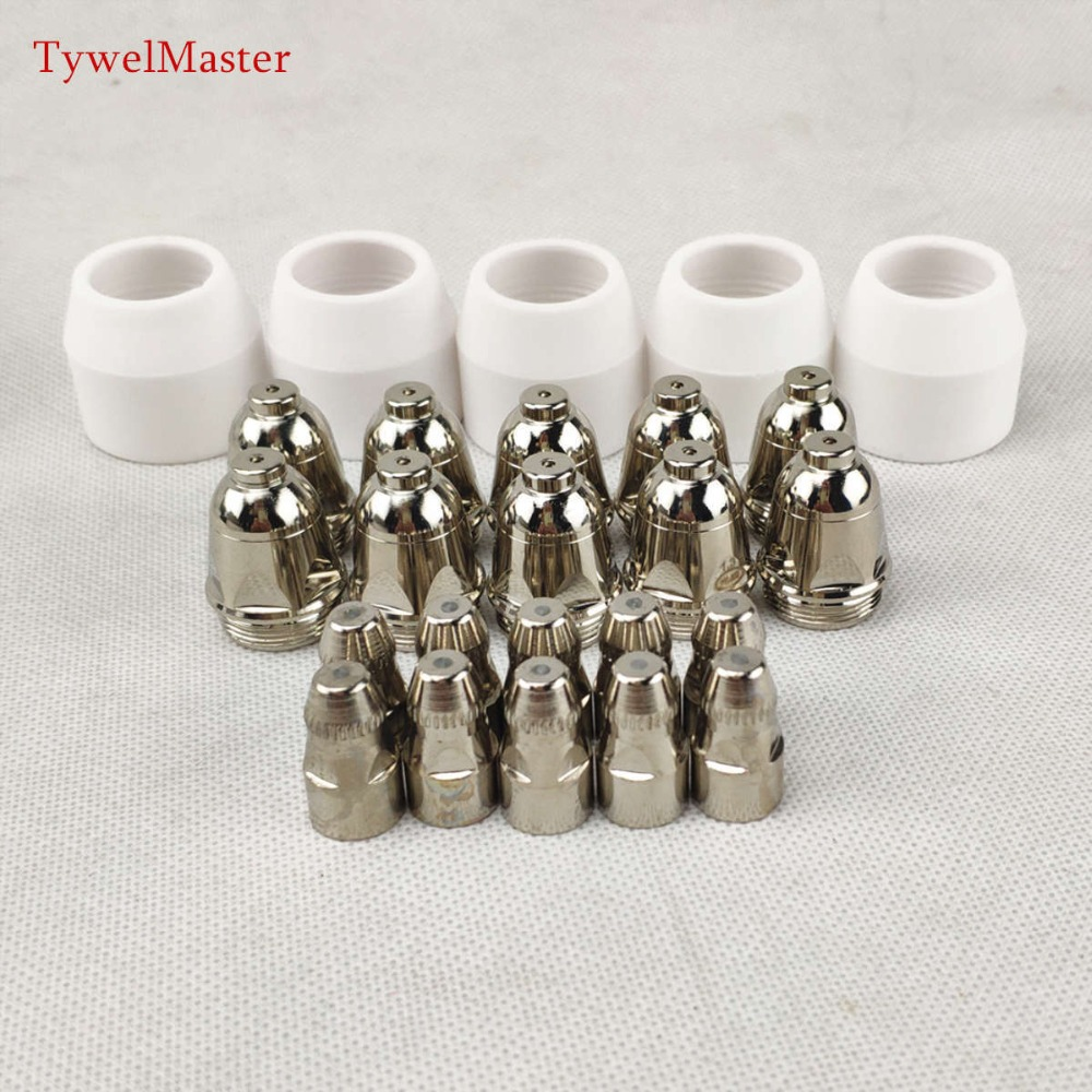 25pcs P80 Plasma Cutting Torch Consumable Cutting CNC 60A 80A 100A P80 Plasma Torch Shield Cup Tip Electrode Nozzle