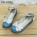 LIN KING New Lace Bowtie Sweet Lolita Shoes Low Square Heels Women Pumps Shallow Mouth Round Toe PU Leather Princess Ankle Shoes