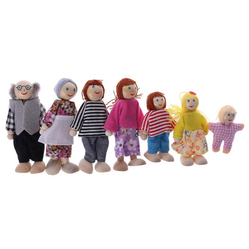7pcs/set Happy House Family Dolls Wooden Figures Characters Dressed Kids Girls Lovely Children Pretending Toys