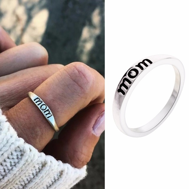 Vintage Silver Ring Heart Crown Selfless Mom Rings for Women Clear CZ Silver Fas