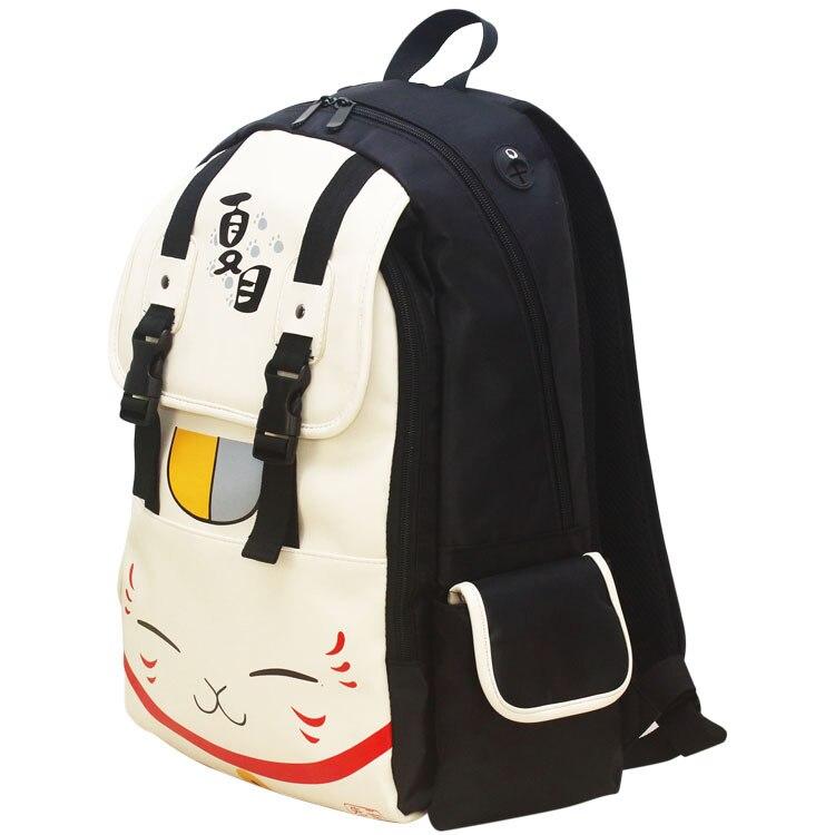 Japanese Anime Printed Schoolbag Beige Cute Cat Canvas Backpack Women Student School Leisure Cartoon Laptop Schoolbag