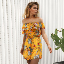 ebbc32cbc9 plus size rompers womens jumpsuit summer off shoulder yellow boho playsuit  one piece shorts rompers floral combinaison B2005.