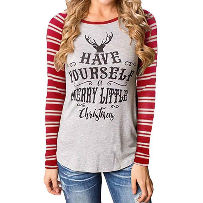 Autumn Strip Animal Deer Moose Printed Women T shirt Christmas Holiday Letter Print Happy Tee Shirts Female Raglan T-shirt Top